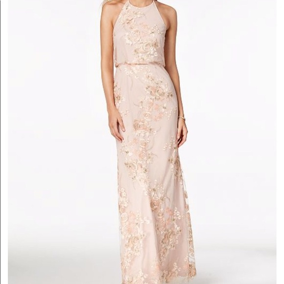 4a6bb3cfa9 Adrianna Papell Dresses   Skirts - Embroidered open back halter gown